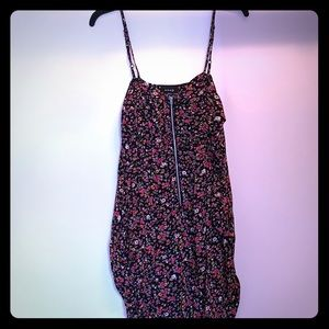 Floral Dress with Front Silver Zipper.